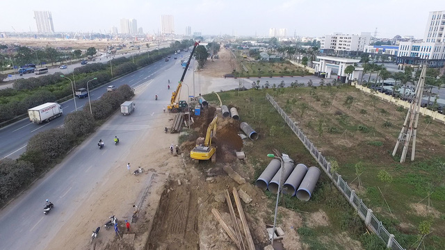 1443/Toàn cảnh công trình nước sạch sông Đà số 2 đang thi công
